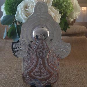 Silver plated Hamsa/Lucky Charm wall decor.